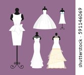 wedding bride dress elegance... | Shutterstock .eps vector #591146069