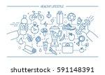 line art flat vector... | Shutterstock .eps vector #591148391