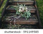 wedding bouquet of flowers and... | Shutterstock . vector #591149585