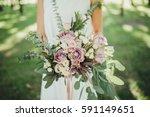 bride in light white dress... | Shutterstock . vector #591149651