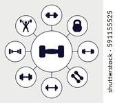 barbell icons set. set of 9
