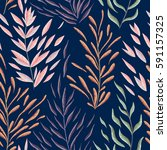 seamless pattern with marine... | Shutterstock .eps vector #591157325
