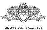 sacred heart of jesus with... | Shutterstock .eps vector #591157601