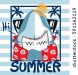 funny cartoon shark wearing... | Shutterstock .eps vector #591162119