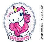 beautiful unicorn girl with... | Shutterstock .eps vector #591162134