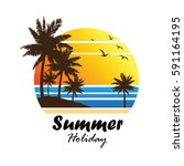 summer vacation on tropical... | Shutterstock .eps vector #591164195