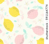 seamless pattern with citrus... | Shutterstock .eps vector #591164774