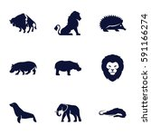 zoo icons set. set of 9 zoo... | Shutterstock .eps vector #591166274
