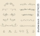 hand drawn frames  border ... | Shutterstock .eps vector #591174155