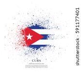 flag of cuba  brush stroke... | Shutterstock .eps vector #591177401