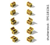 set of isometric empty chests.... | Shutterstock .eps vector #591181361