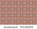 damask seamless floral pattern... | Shutterstock . vector #591182099