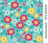 floral pattern with flowers and ... | Shutterstock .eps vector #591185435