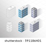 vector isometric buildings set. ... | Shutterstock .eps vector #591186401