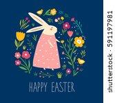 happy easter card. vector... | Shutterstock .eps vector #591197981