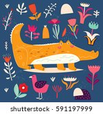 beautiful illustration with... | Shutterstock .eps vector #591197999