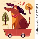 cartoon illustration with funny ... | Shutterstock .eps vector #591198011