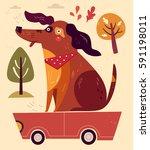 cartoon illustration with funny ... | Shutterstock .eps vector #591198011