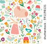 vector elegant childish... | Shutterstock .eps vector #591198131