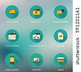set of flat design seo icons... | Shutterstock .eps vector #591201161