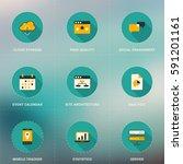 set of flat design seo icons... | Shutterstock .eps vector #591201161