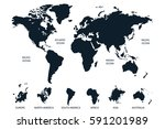 black world map vector on white ... | Shutterstock .eps vector #591201989