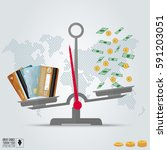 infographic value of credit... | Shutterstock .eps vector #591203051