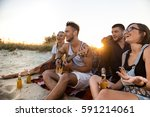 young company of friends... | Shutterstock . vector #591214061