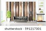 modern bright interior . 3d... | Shutterstock . vector #591217301