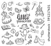 little princess funny graphic... | Shutterstock .eps vector #591217631