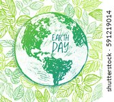 earth day ink hand drawn... | Shutterstock .eps vector #591219014