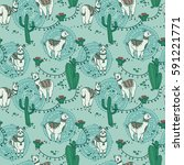 seamless pattern with cute... | Shutterstock .eps vector #591221771
