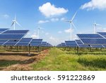 solar panels and wind turbines... | Shutterstock . vector #591222869