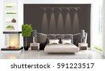 modern bright interior . 3d...   Shutterstock . vector #591223517