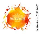 orange abstract aquarelle... | Shutterstock .eps vector #591234089