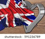 uk wavy flag with heart and wood | Shutterstock . vector #591236789