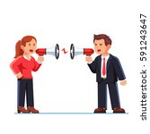 business man and woman shouting ... | Shutterstock .eps vector #591243647