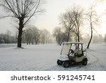 Club Car On Winter Golf Course