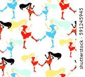 seamless pattern girl disco... | Shutterstock .eps vector #591245945