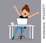 cartoon tired sleepy woman... | Shutterstock .eps vector #591253577