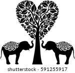 elephants in love | Shutterstock .eps vector #591255917
