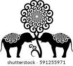 baby elephants | Shutterstock .eps vector #591255971