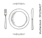 dish fork and knife sketch.... | Shutterstock .eps vector #591256427