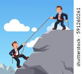 business man on top of mountain ... | Shutterstock .eps vector #591260261