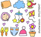 doodle of baby colorful element | Shutterstock .eps vector #591270047