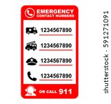 emergency contact numbers | Shutterstock .eps vector #591271091