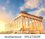 Small photo of Acropolis in Athens, Greece. Parthenon temple on a sunset