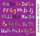 hand drawn alphabet. brush... | Shutterstock . vector #591274157