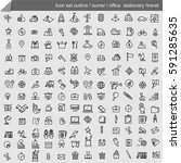 icon set outline summer camping ... | Shutterstock .eps vector #591285635