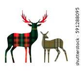 Two Deer On Tartan Background....